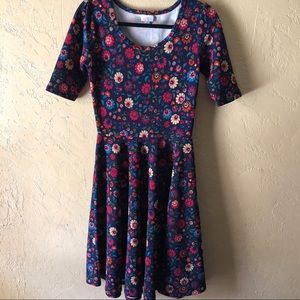 LuLaRoe Amelia Dress Blue Floral